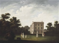 a view of allerton hall, liverpool, with elegant figures conversing by john pennington