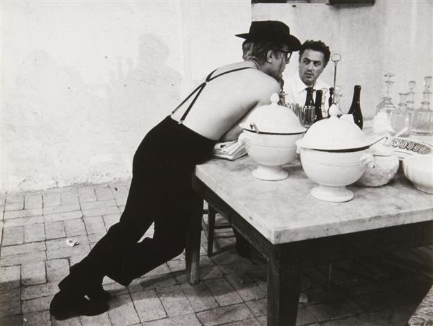 Federico Fellini and Marcello Mastroianni on the set of 8 12 Otto e ...