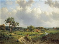 a path through the dunes, haarlem in the distance by willem vester