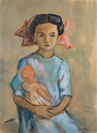 young girl with doll by meier akselrod