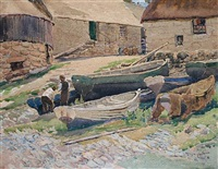old boats, sennen cove by charles walter harvey