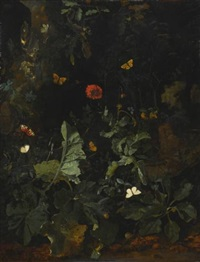 a forest floor still life with flowering plants and butterflies by nicolaes de vree
