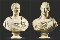 pair of busts of george baring and his wife harriet rochfort by adamo tadolini