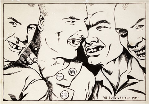 no title we survived the pit by raymond pettibon