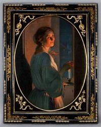 woman in candlelight by johann mongels culverhouse
