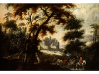 grosse waldlandschaft mit figurenstaffage und architektur (or attributed to jacques d'arthois) by lucas van uden