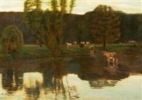kühe an einer furt by oskar frenzel