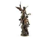a bronze allegorial figural group of victory crowning industry by mathurin moreau