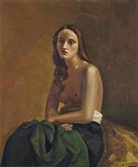femme nue à la draperie verte by andré derain