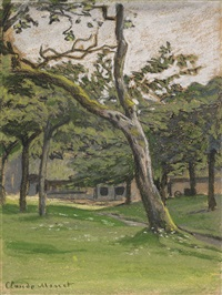 ferme normande sous les arbres by claude monet