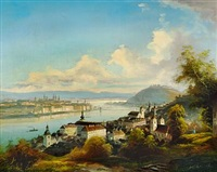 view of budapest with gellért hill and chain bridge by friedrich wilhelm jankowski