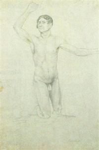 kniender männlicher akt by peter von cornelius