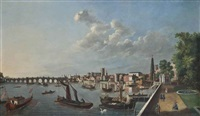 a view of westminster bridge with the royal barge by samuel scott
