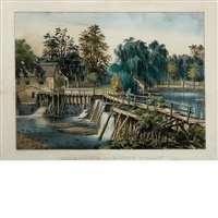 mill-dam at sleep hollow by currier & ives (publishers)