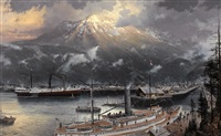 skagway in 1898 by thomas kinkade