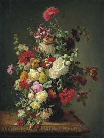 a still life of roses tulips peonies carnations hollyhocks morning glories dahlias and raspberries in an urn on a carved wooden table by simon saint jean