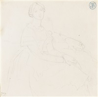 study for a portrait of a seated lady by jean-auguste-dominique ingres