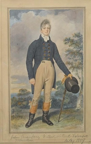 john beaufort wearing double breasted blue coat with brass buttons tied white stock buff trousers with buttons below the knee and two seals at the waist by samuel de wilde