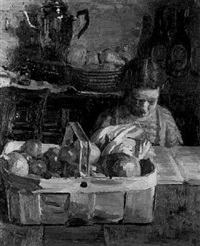 still life and child by thomas rathmell