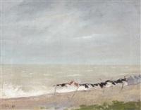 scène de plage par mer agitée à trouville, le coup de vent by henri gervex