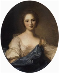 portrait of a lady in a white dress and a blue mantle by jean baptiste nattier