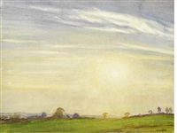 sunset landscape by sir george clausen