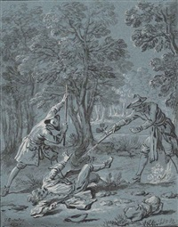 illustration of a fable by jean de la fontaine: jupiter and the passenger by jean-baptiste oudry