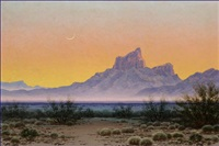 desert nocturne landscape - crescent moon by josé aceves