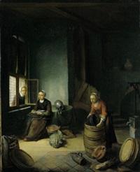 kücheninterieur mit zwei mägden bei der arbeit und einer frau am fenster by pieter van den bos