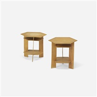 pair of side tables from the john l. rayward house, new caanan, ct by frank lloyd wright
