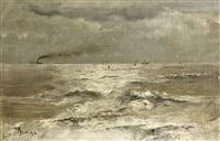 vue de la mer au large du havre depuis l'arrière du bateau by alfred stevens