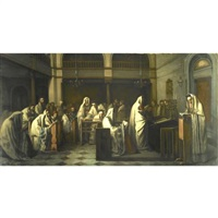 synagogue during the reading of the law by edouard moyse