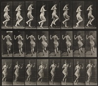 pair of plates from animal locomotion, both featuring women, plate numbers 185 and 187 (pair) by eadweard muybridge