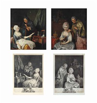 la mere indulgente; and les conseils maternels (4 works) by pierre alexandre wille