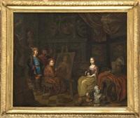 dame de qualité se faisant portraiturer dans l'atelier du peintre by balthasar van den bossche