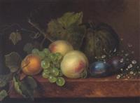 obstilleben mit melone, pfirsich und weintrauben by johanna maria pieternella heijmans