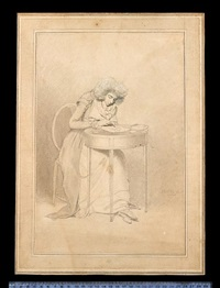 sarah siddons (née kemble), seated at table, drawing, she wears jacket with layered short sleeves and lapels, over dress, fichu, ruffle and curled wig by samuel de wilde