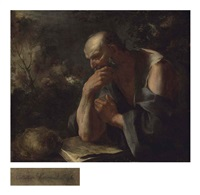 saint jerome reading in a landscape by giuseppe antonio petrini
