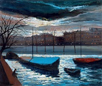 night lights on the river by marguerite de corini