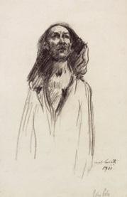 portrait eines jungen mannes mit kapuze by lovis corinth