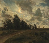 aftenlandskab (evening landscape) by julius paulsen