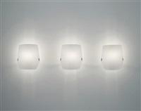 set of three rare wall lights, model no. 184 by gino sarfatti