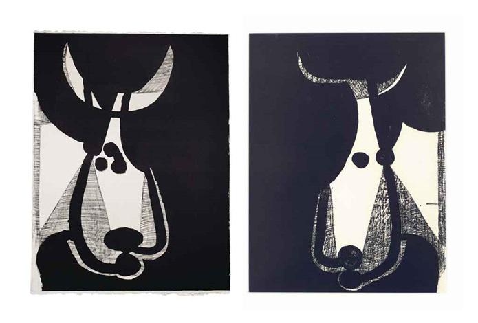 tête de taureau tourné à gauche and tête de taureau tourné à droite 2 works by pablo picasso