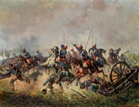 attacke der österreichischen trani-ulanen in italien unter dem feldherrn erzherzog albrecht by alexander ritter von bensa