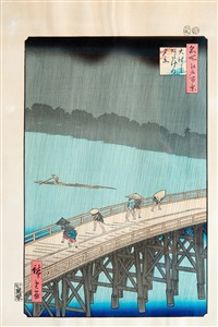 evening squall on great bridge in atake (from famous places in edo: a hundred views 1856-59) by ando hiroshige