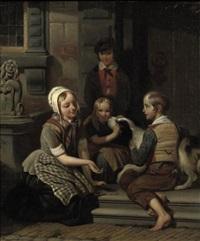 children playing in the street by johan philip koelman