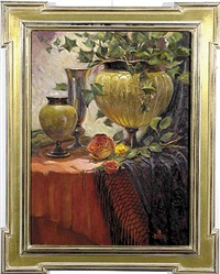 still life with vases and roses by julie ford oliver