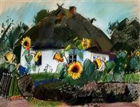 haus und sonnenblumen (ahrenshoop?) by otto herbig