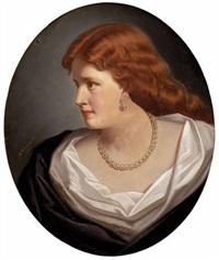 damenbildnis mit rotem haar und perlenschmuck by marcel johann von zadorecki