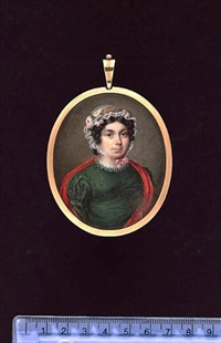 a lady of the harrington or wright family, wearing green dress with white gauze collar, red shawl over her shoulders and white lace cap dressed with pink roses by johannes baptista van acker